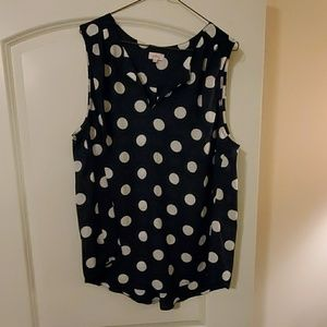 2X Navy blue sleeveless blouse